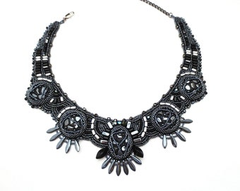 statement necklace, hematite necklace, black necklace, gypsy jewelry, tribal jewelry - clothing gift -