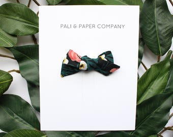 """Tiny """"Hunter Painted Roses"""" Schoolgirl Bow / Rifle Paper Co. / Handmade Baby Hair Bow / Pretty Floral Hair Bow / Cotton Bow on Clip"""