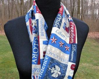 Old Glory, patriotic infinity scarf, stars and stripes soft cotton fabric wrap, spring and summer circle scarf, USA, Statute of Liberty