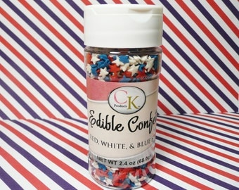 2.4 oz. Red White and Blue Stars Edible Confetti Sprinkles Fourth of July Patriotic USA  Cake Cupcake Cookies Quins
