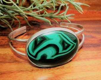 Magnificent Malachite Sterling Cuff Bracelet