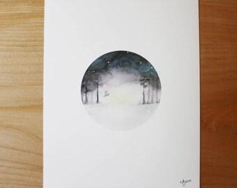 Peaceful sunset 8x10 Watercolor Art Print unframed
