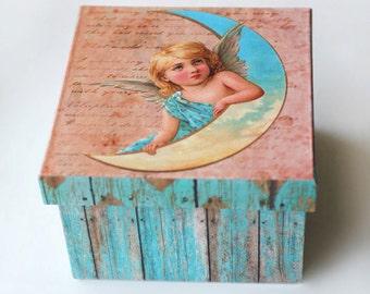 Angel on Moon Jewelry Box - FREE SHIPPING