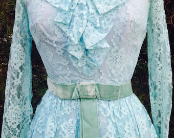 1950's baby blue bombshell lace dress with blue velvet bow belt - 50's party dress size Medium