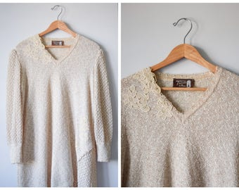 SALE 60s woven midi-length sweater dress   L