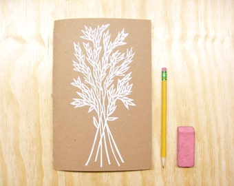 Sketchbook Journal - Wheat Grass Plant - White Ink - Coloring Book - Block Printed - Hand Bound