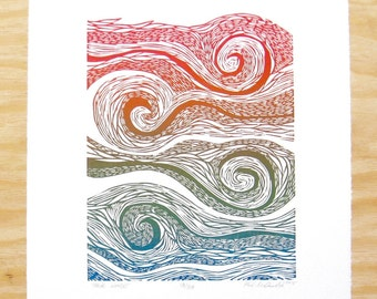 "Woodcut Print - ""Four Winds"" - Waves Rainbow Wall Art"
