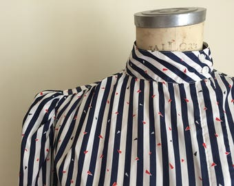1980s Vintage I.Magnin asymmetrical button-up blouse / Blue and white stripes with confetti novelty print / size medium