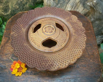1970s Japanese Vintage Showa Period Arare Nambu Tekki  南部鉄器 Cast Iron Incense Burner Ashtray Signed