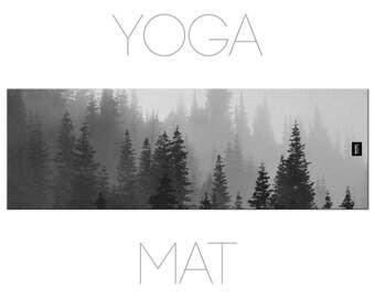 Pine Tree Yoga Mat, Nature Yoga, Landscape Photo, Yoga Mats, Yoga Accessories, Black And White