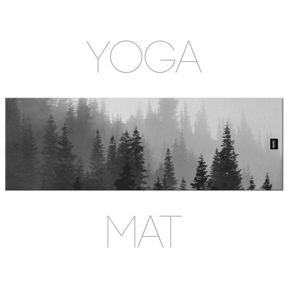 Pine Tree Yoga Mat, Nature Yoga, Landscape Photo, Yoga Mats, Yoga Accessories, Black And White
