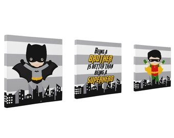 superhero wall CANVAS prints, set of 3 batman bedroom wall art, superhero canvas, super heroes, HIGH QUALITY prints, available in many sizes