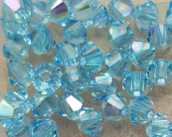 Swarovski 4mm Bicone Faceted Crystal Beads - AQUAMARINE AB - Select 10, 20, 50 or 100 Beads