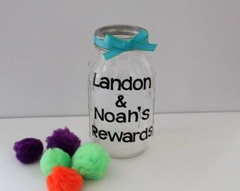Reward Jar • Personalized Mason Jar • Teacher Rewards • Personalized Teacher Gift • Children's Reward System • Potty Training Rewards