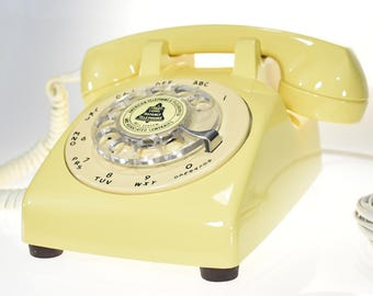 Vintage Canary Yellow Rotary Dial Phone Old Classic American Telephone