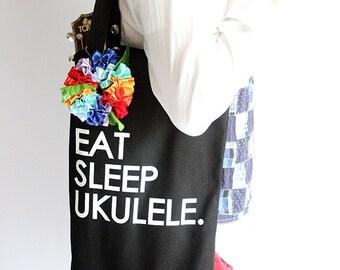 Ukulele carry bag & ribbon lei(rainbow) /