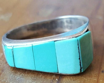 Vintage Navajo Sterling Silver and Turquoise Bar Inlay Ring, Native American, Navajo Jewelry, Vintage Ring, Southwest Jewelry