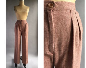 1970's High Waist Dusty Pink Wool Trousers