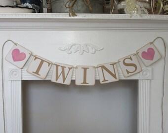 Baby Shower Banner Twin Girls Banner Pink Girls Banner