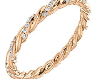 1/4 Carat G (color) VS2 (clarity) Diamond Eternity Twist Design Ring in 14k Gold