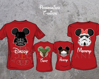 Star Wars Inspired Custom T-shirts, Darth Vader, Yoda, Princess Leia, or Girl Stormtrooper, Disney Vacation,  Family Matching Shirts