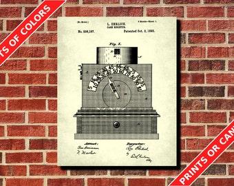 Cash Register Patent Print, Cash Till Poster, Vintage Shop Till Print, Vintage Retail Blueprint, Vintage Shop Register Poster