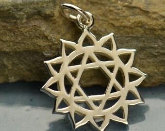 Sterling Silver Heart Chakra Charm. Sterling Silver Chakra Pendant.