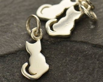Sterling Silver Tiny Kitten Charm.