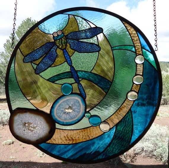 Stained Glass Window Hanging THE DRAGONFLY