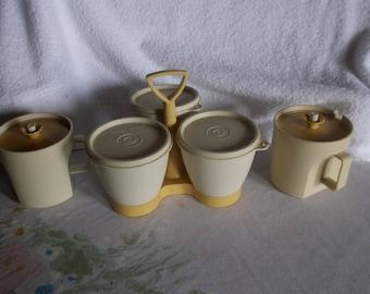 Vintage Beige Tupperware Creamer and Sugar, 3 Condiment Bowls and Holder