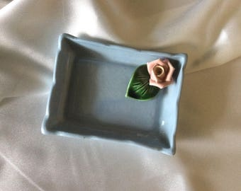 Blue Trinket Dish with Rose
