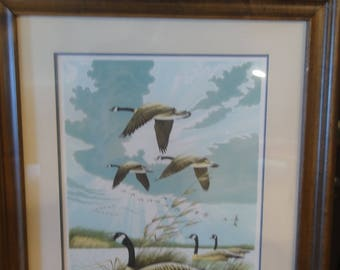 """Vintage 1977 Lithograph Titled """" Wild Cry Of Morning"""" / Flying Wild Geese/Signed Larry Toschik"""