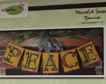 Wooly Lady Limited Edition Christmas Wool Appliqué Kit Peaceful Season Banner Finished Size Approximately 9 x 31 Inches