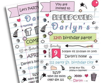 sleepover invitations for teenagers