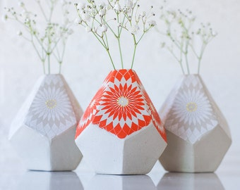 MADE TO ORDER - Geometric Bud Vase - Mandala Pattern