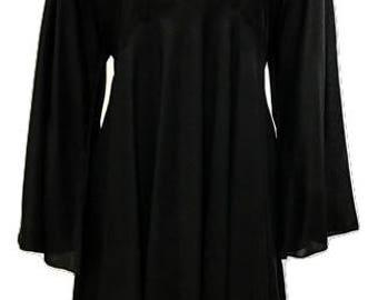 Plus size umbrella hem embroidered buttoned v-neckline tunic dress black