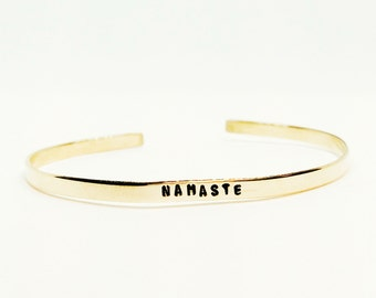 NAMASTE Handstamped Skinny Cuff // Empowering Women + Yoga Jewelry + Mantra Bracelet + Wanderlust + Tribal + Positive Vibes + Gift For Her