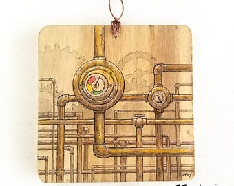 Pipework Original Pen and Ink, Watercolor Illustration on Wood