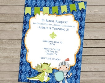 SALE 25% OFF Knight and Dragon Invitation - Birthday -  Baby Shower