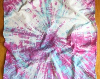"21"" Tie Dye Bandana - Aqua and purple pink circular tie dye pattern - headscarf - handkerchief"