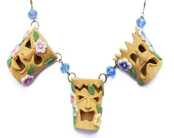 Tropical Hawaiian Tiki Mask Trio Necklace Retro Rockabilly Kitsch Pin Up 50s