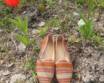 Handmade turkish vintage kilim shoes