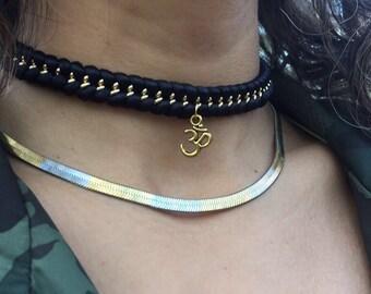 Silver Om Choker Necklace