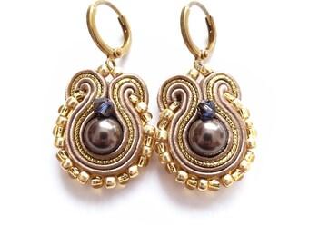 Black Beige Soutache Champagne Gold Earrings Golden Shadow Swarovski  Clip on Earrings Beige Soutache Earrings  Hand Embroidered Jewelry