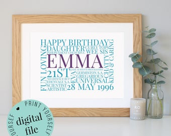 Personalised 21st BIRTHDAY GIFT - Word Art - 21st Birthday Gift for Her - 21st Birthday Gift for Him - Printable Gift - Bespoke Gifts - 21st