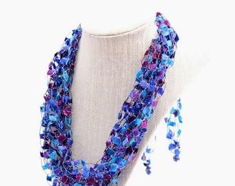 Adjustable Crochetlaces Necklace - Galaxy, wider ribbon