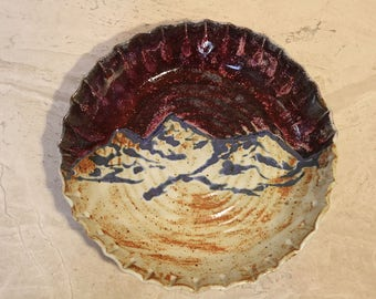 Pottery Pie Plate, Ceramic Serving Dish, Mountain Landscape Theme, Kitchenware