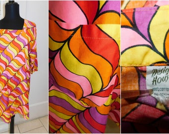 60s Psychedelic Op Art Beach Cover Smock Orange Striped Beach Cover Smock Size Medium