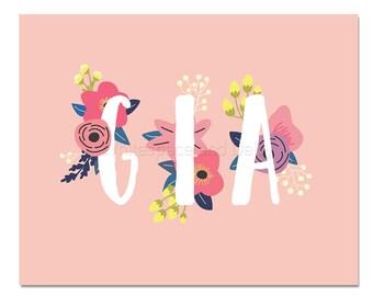 Gia Baby Name Wall Art Gia Baby Name Sign Gia Party Printable Gia Party Decorations Gia Adult Party Decorations Gia Art