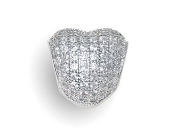 Pave Heart European Bead, Pave Heart Charm With Cubic Zirconia Fits European Charm Bracelets #11-PHB